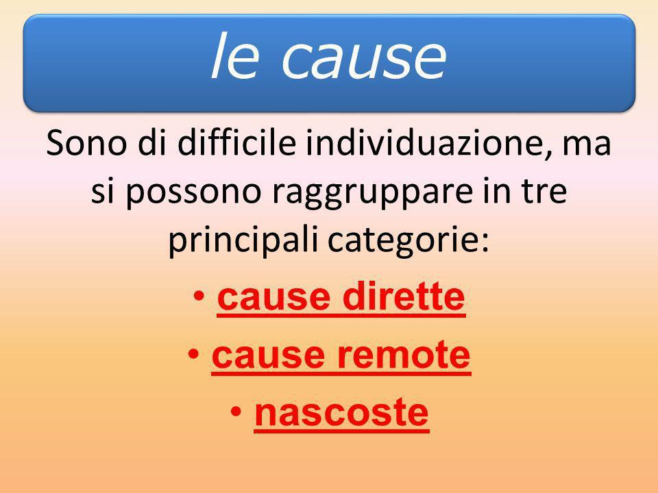 Sono di difficile individuazione, ma si possono raggruppare in tre principali categorie: cause dirette cause remote nascoste LE CAUSE le cause