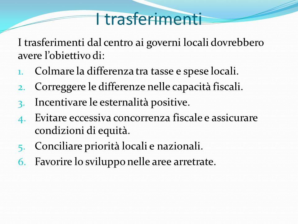 I trasferimenti I trasferimenti dal centro ai governi locali dovrebbero avere lobiettivo di: 1.