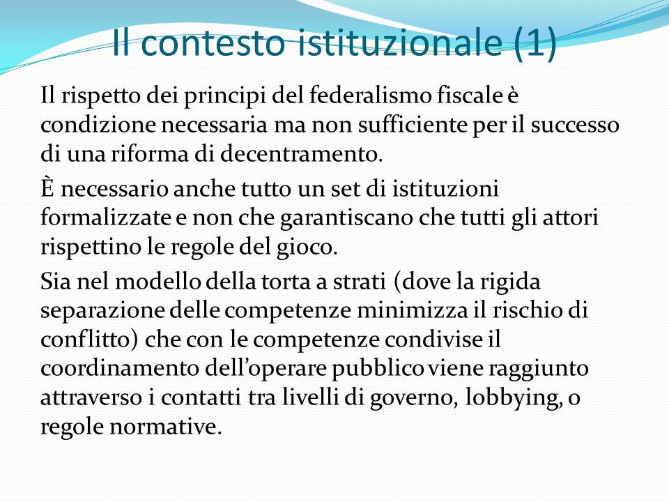 Il contesto istituzionale (1) Il rispetto dei principi del federalismo fiscale è condizione necessaria ma non sufficiente per il successo di una riforma di decentramento.