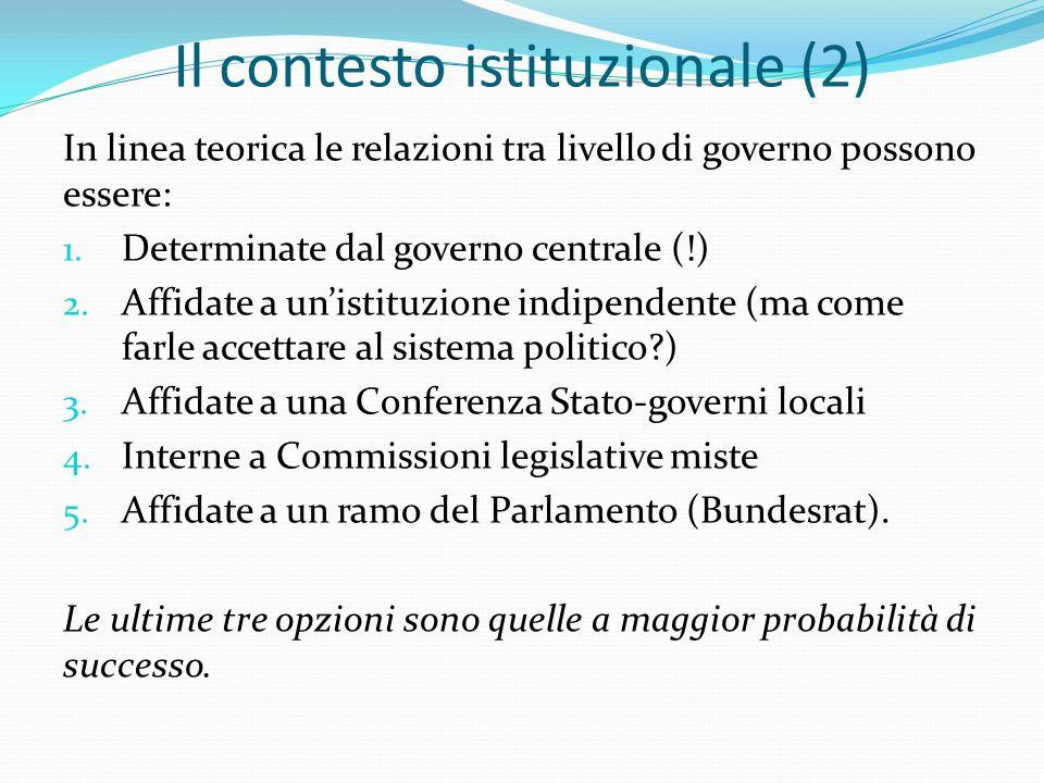 Il contesto istituzionale (2) In linea teorica le relazioni tra livello di governo possono essere: 1.