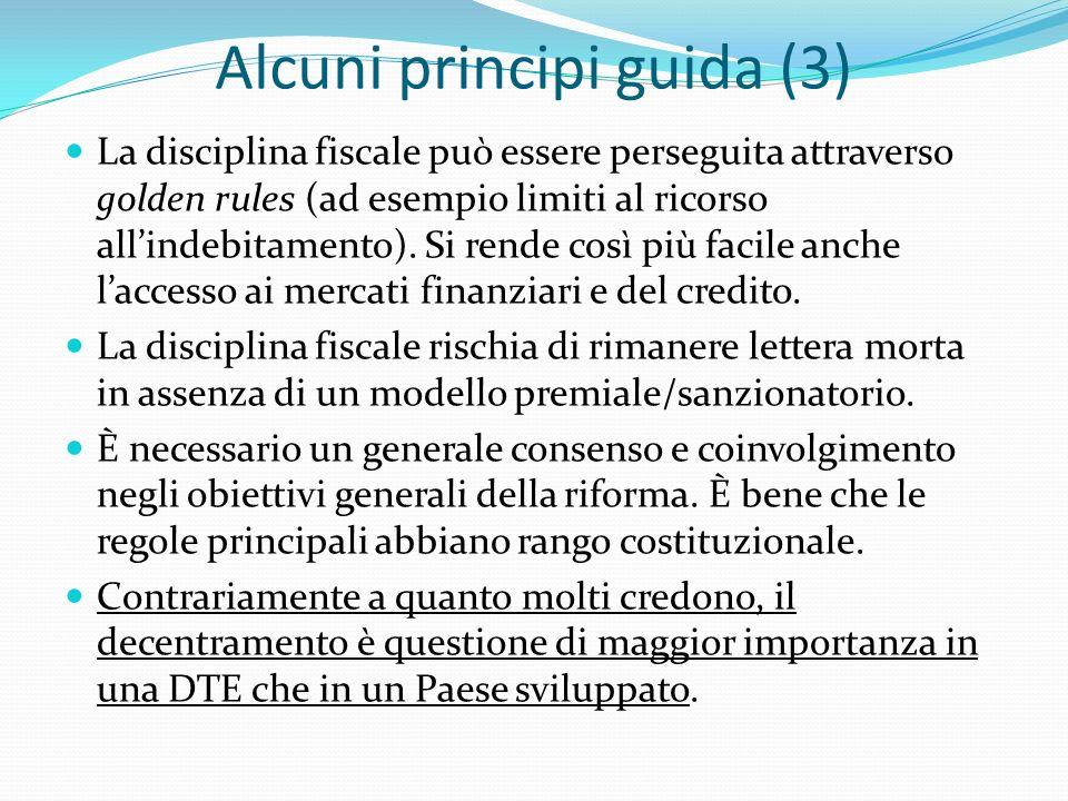 Alcuni principi guida (3) La disciplina fiscale può essere perseguita attraverso golden rules (ad esempio limiti al ricorso allindebitamento).