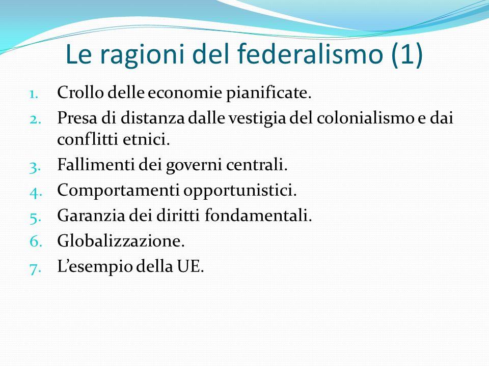 Le ragioni del federalismo (1) 1. Crollo delle economie pianificate.