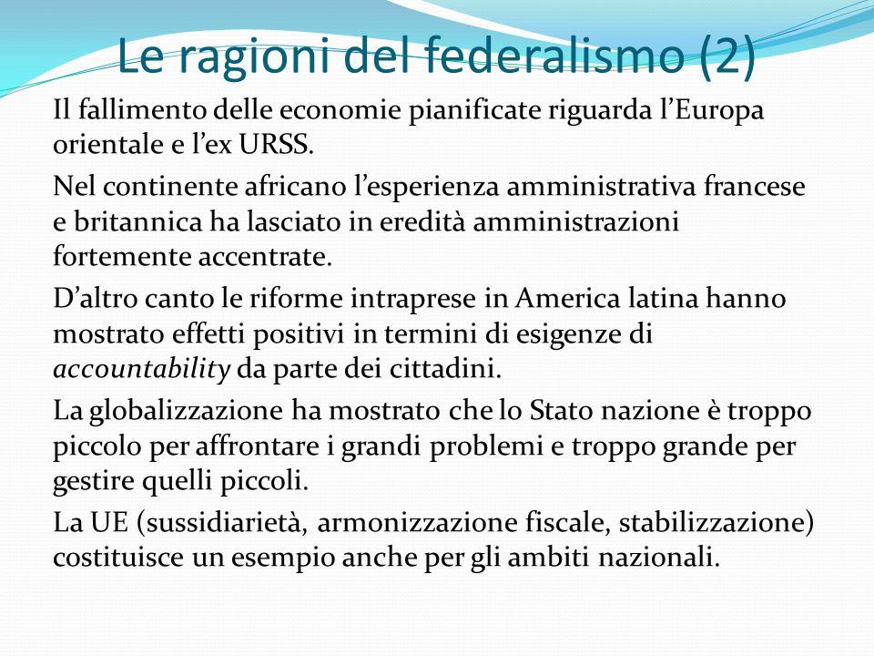 Le ragioni del federalismo (2) Il fallimento delle economie pianificate riguarda lEuropa orientale e lex URSS.