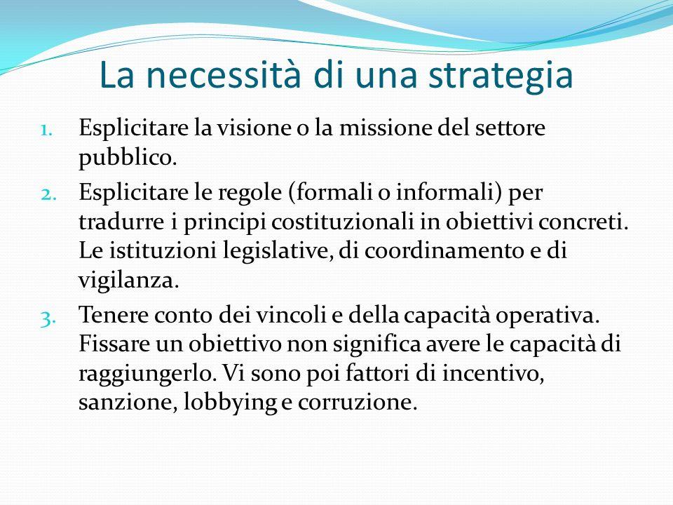 La necessità di una strategia 1. Esplicitare la visione o la missione del settore pubblico.