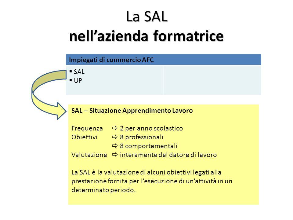 La SAL nellazienda formatrice Impiegati di commercio AFC SAL UP SAL – Situazione Apprendimento Lavoro Frequenza 2 per anno scolastico Obiettivi 8 prof
