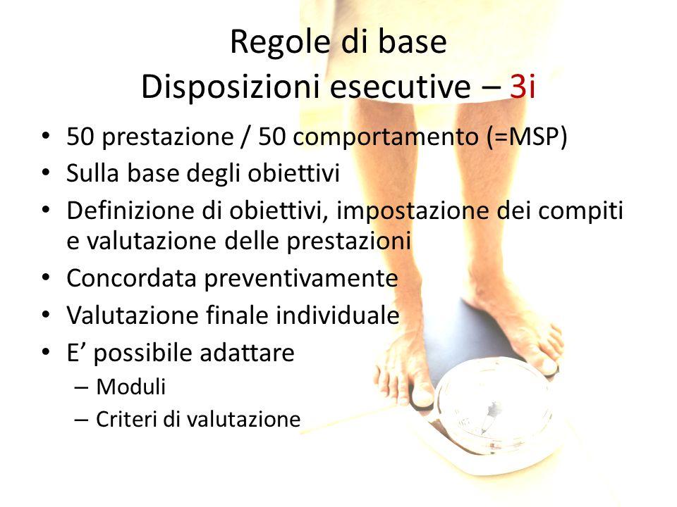 Regole di base Disposizioni esecutive – 3i 50 prestazione / 50 comportamento (=MSP) Sulla base degli obiettivi Definizione di obiettivi, impostazione