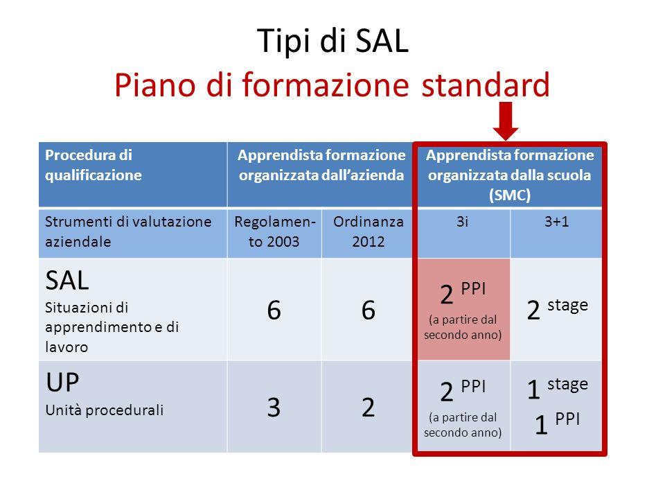 Tipi di SAL Piano di formazione standard Procedura di qualificazione Apprendista formazione organizzata dallazienda Apprendista formazione organizzata