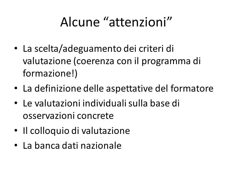 Alcune attenzioni La scelta/adeguamento dei criteri di valutazione (coerenza con il programma di formazione!) La definizione delle aspettative del for