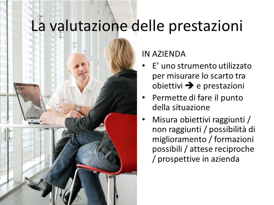 La valutazione delle prestazioni IN AZIENDA E uno strumento utilizzato per misurare lo scarto tra obiettivi e prestazioni Permette di fare il punto de