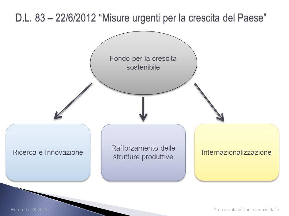 D.L. 83 – 22/6/2012 Misure urgenti per la crescita del Paese Fondo per la crescita sostenibile Ricerca e Innovazione Rafforzamento delle strutture pro