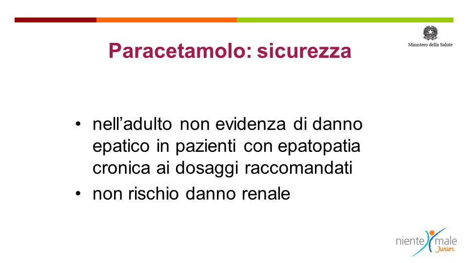 Paracetamolo: sicurezza nelladulto non evidenza di danno epatico in pazienti con epatopatia cronica ai dosaggi raccomandati non rischio danno renale