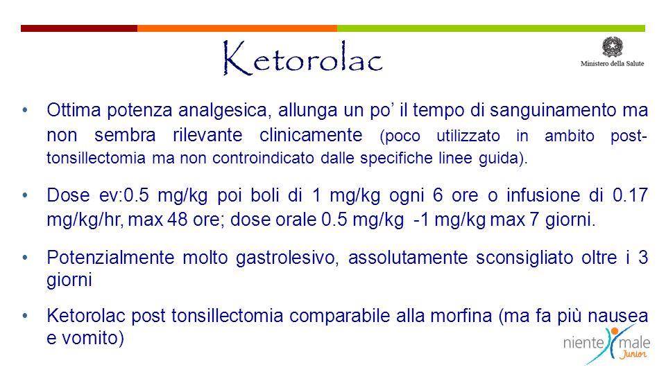 Ketorolac Ottima potenza analgesica, allunga un po il tempo di sanguinamento ma non sembra rilevante clinicamente (poco utilizzato in ambito post- tonsillectomia ma non controindicato dalle specifiche linee guida).