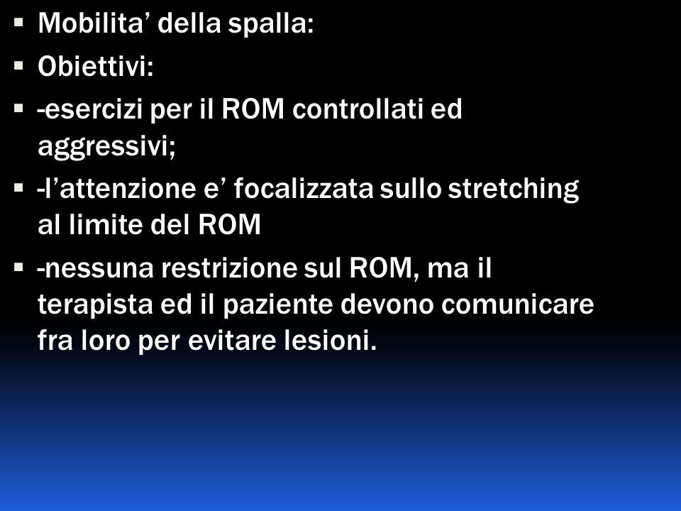 Mobilita della spalla: Obiettivi: -esercizi per il ROM controllati ed aggressivi; -lattenzione e focalizzata sullo stretching al limite del ROM -nessu