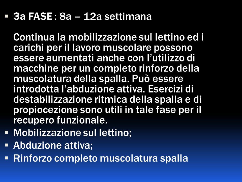 3a FASE : 8a – 12a settimana Continua la mobilizzazione sul lettino ed i carichi per il lavoro muscolare possono essere aumentati anche con lutilizzo