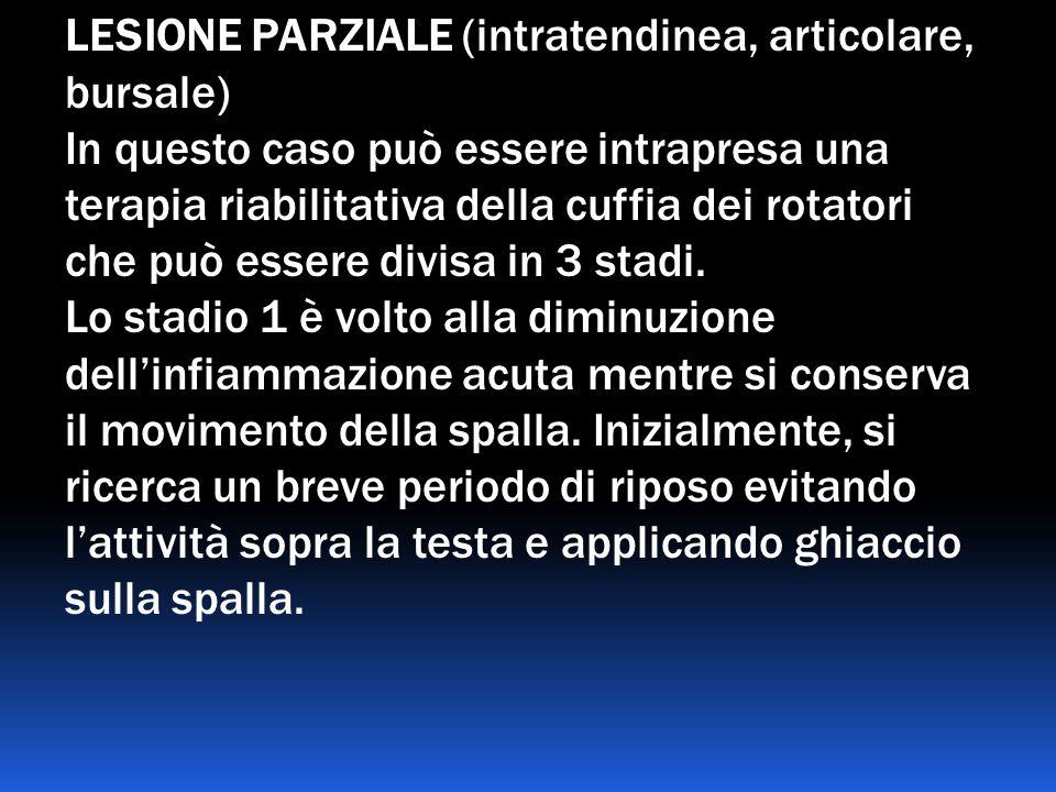 LESIONE PARZIALE (intratendinea, articolare, bursale) In questo caso può essere intrapresa una terapia riabilitativa della cuffia dei rotatori che può