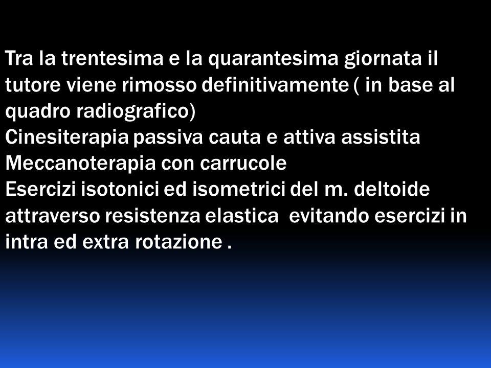 Tra la trentesima e la quarantesima giornata il tutore viene rimosso definitivamente ( in base al quadro radiografico) Cinesiterapia passiva cauta e a