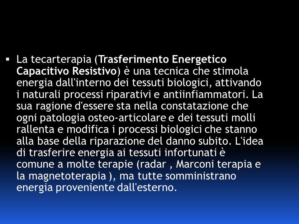 La tecarterapia (Trasferimento Energetico Capacitivo Resistivo) è una tecnica che stimola energia dall'interno dei tessuti biologici, attivando i natu