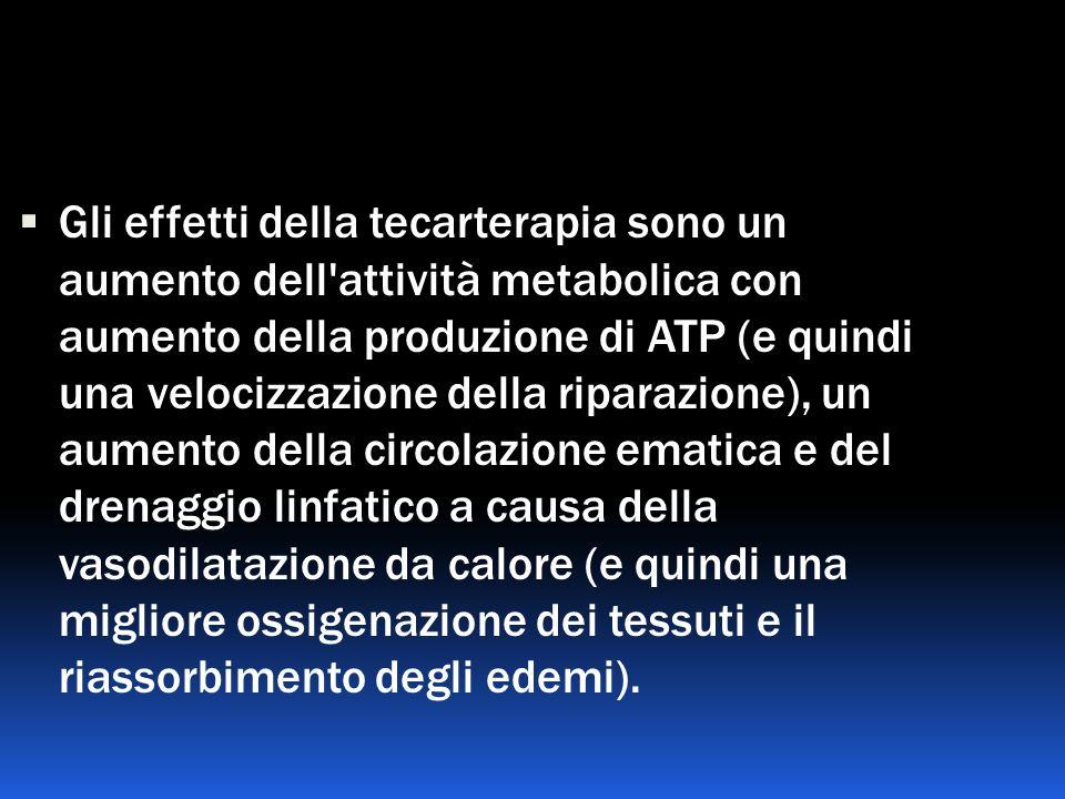 Gli effetti della tecarterapia sono un aumento dell'attività metabolica con aumento della produzione di ATP (e quindi una velocizzazione della riparaz
