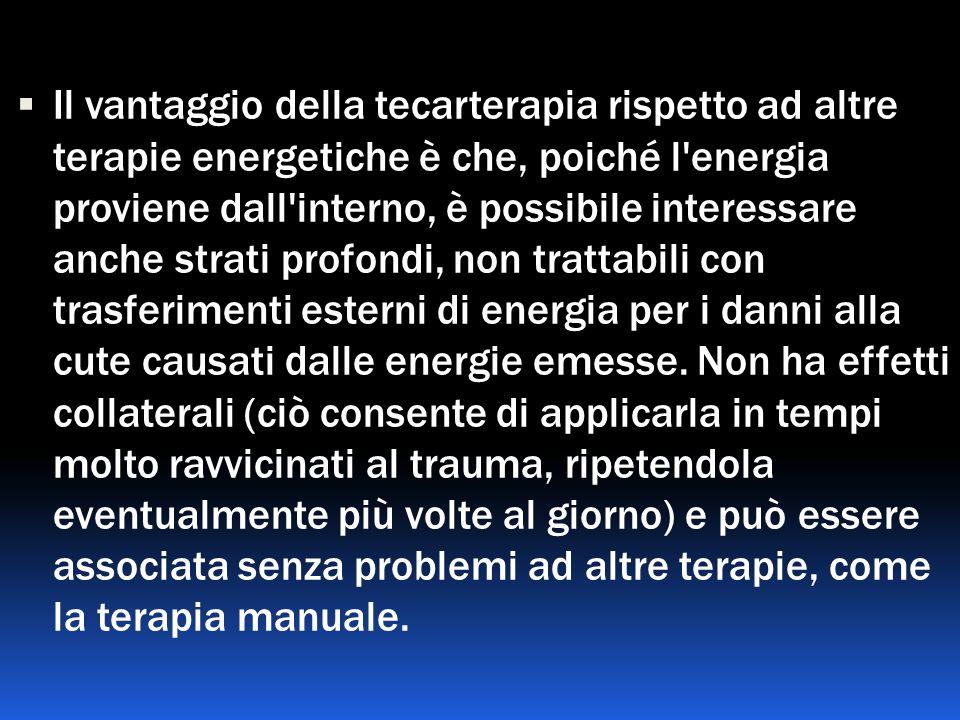 Il vantaggio della tecarterapia rispetto ad altre terapie energetiche è che, poiché l'energia proviene dall'interno, è possibile interessare anche str