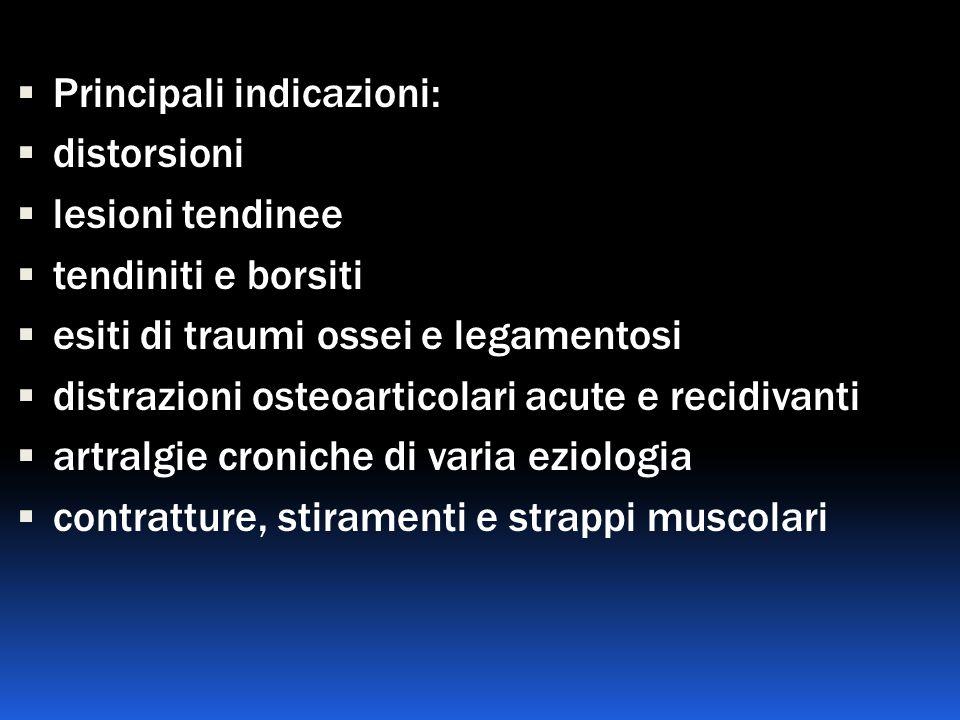Principali indicazioni: distorsioni lesioni tendinee tendiniti e borsiti esiti di traumi ossei e legamentosi distrazioni osteoarticolari acute e recid