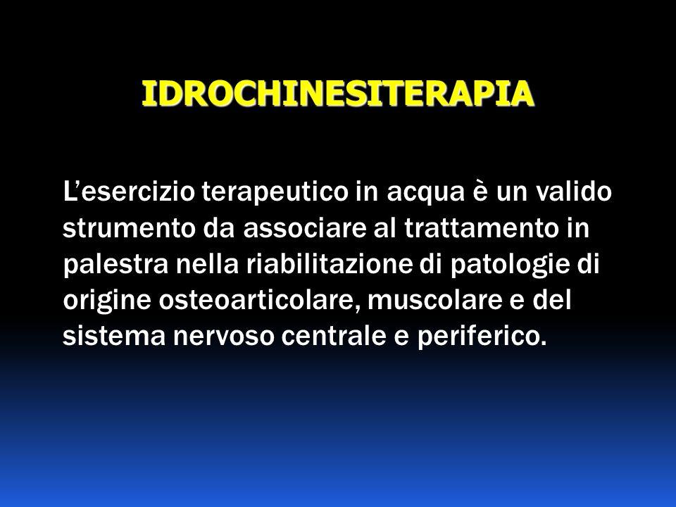 IDROCHINESITERAPIA Lesercizio terapeutico in acqua è un valido strumento da associare al trattamento in palestra nella riabilitazione di patologie di