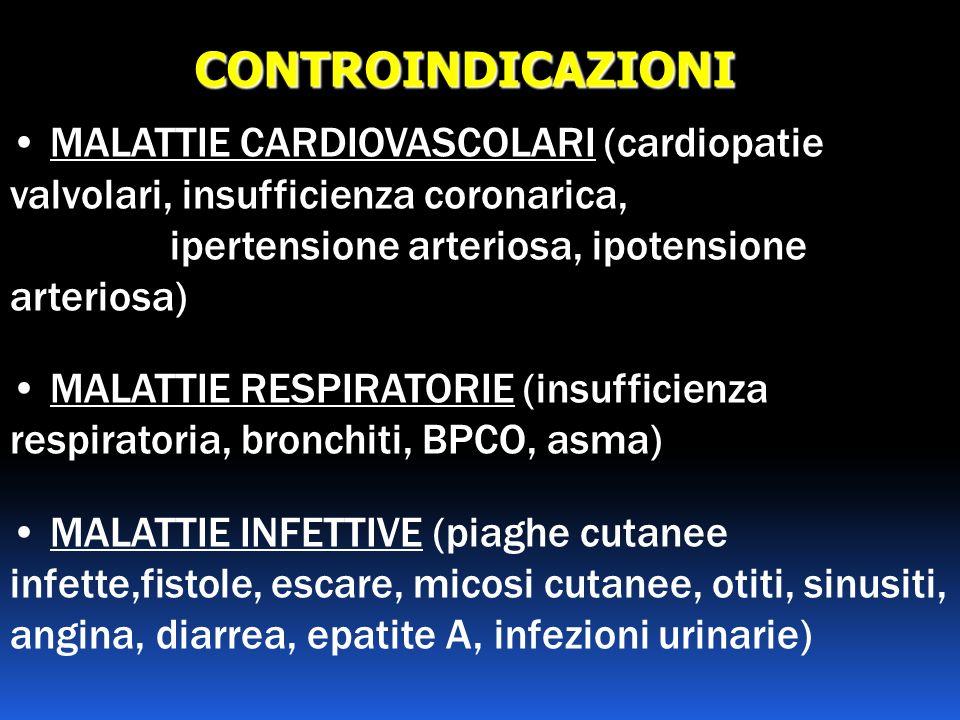 CONTROINDICAZIONI MALATTIE CARDIOVASCOLARI (cardiopatie valvolari, insufficienza coronarica, ipertensione arteriosa, ipotensione arteriosa) MALATTIE R