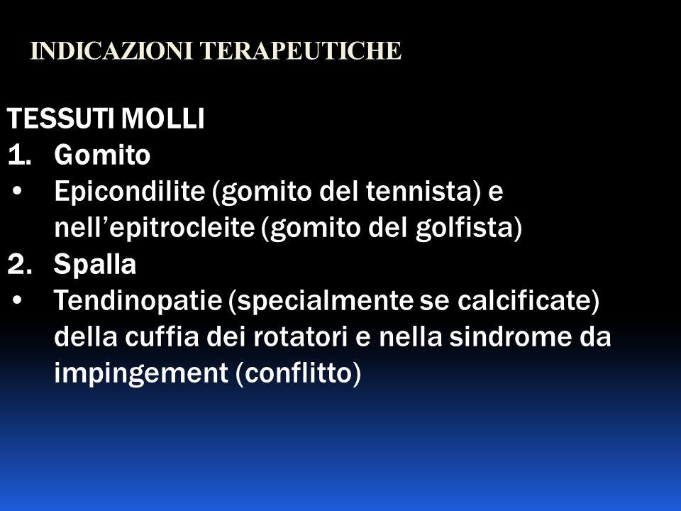 INDICAZIONI TERAPEUTICHE TESSUTI MOLLI 1.Gomito Epicondilite (gomito del tennista) e nellepitrocleite (gomito del golfista) 2. Spalla Tendinopatie (sp