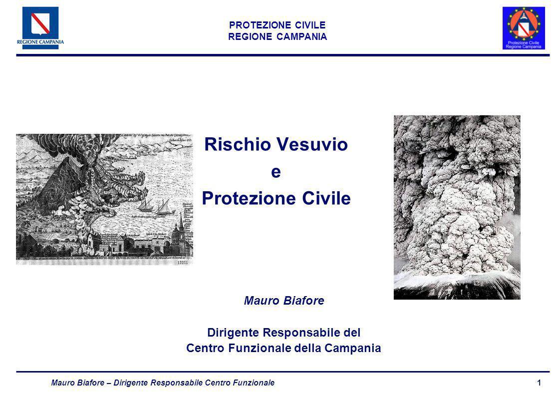 1 PROTEZIONE CIVILE REGIONE CAMPANIA Mauro Biafore – Dirigente Responsabile Centro Funzionale Rischio Vesuvio e Protezione Civile Mauro Biafore Dirige