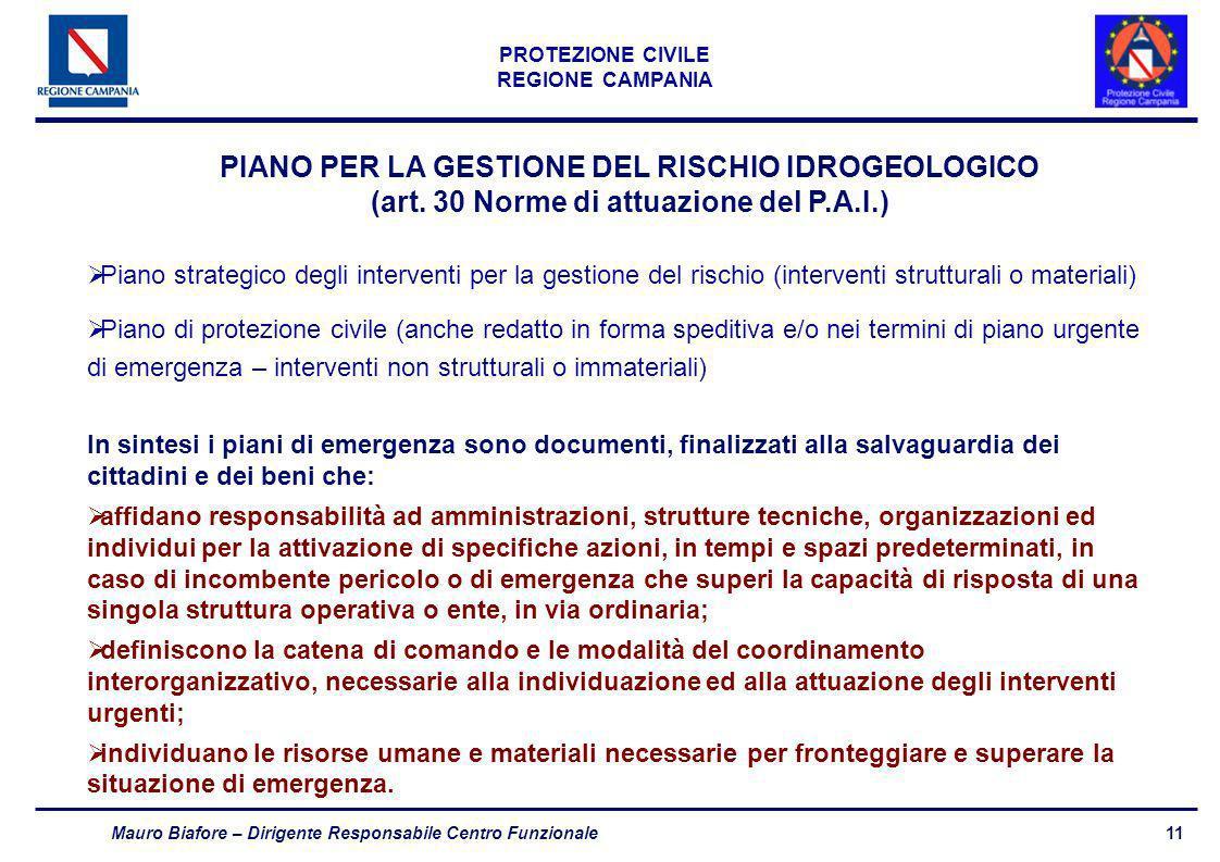 11 PROTEZIONE CIVILE REGIONE CAMPANIA Mauro Biafore – Dirigente Responsabile Centro Funzionale PIANO PER LA GESTIONE DEL RISCHIO IDROGEOLOGICO (art. 3