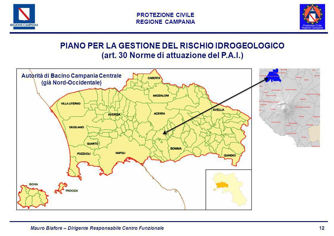 12 PROTEZIONE CIVILE REGIONE CAMPANIA Mauro Biafore – Dirigente Responsabile Centro Funzionale PIANO PER LA GESTIONE DEL RISCHIO IDROGEOLOGICO (art. 3