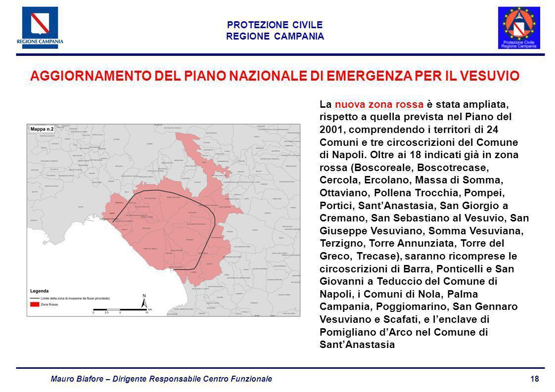 18 PROTEZIONE CIVILE REGIONE CAMPANIA Mauro Biafore – Dirigente Responsabile Centro Funzionale AGGIORNAMENTO DEL PIANO NAZIONALE DI EMERGENZA PER IL V