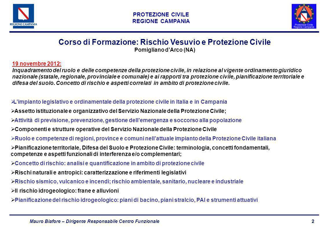 2 PROTEZIONE CIVILE REGIONE CAMPANIA Mauro Biafore – Dirigente Responsabile Centro Funzionale Corso di Formazione: Rischio Vesuvio e Protezione Civile