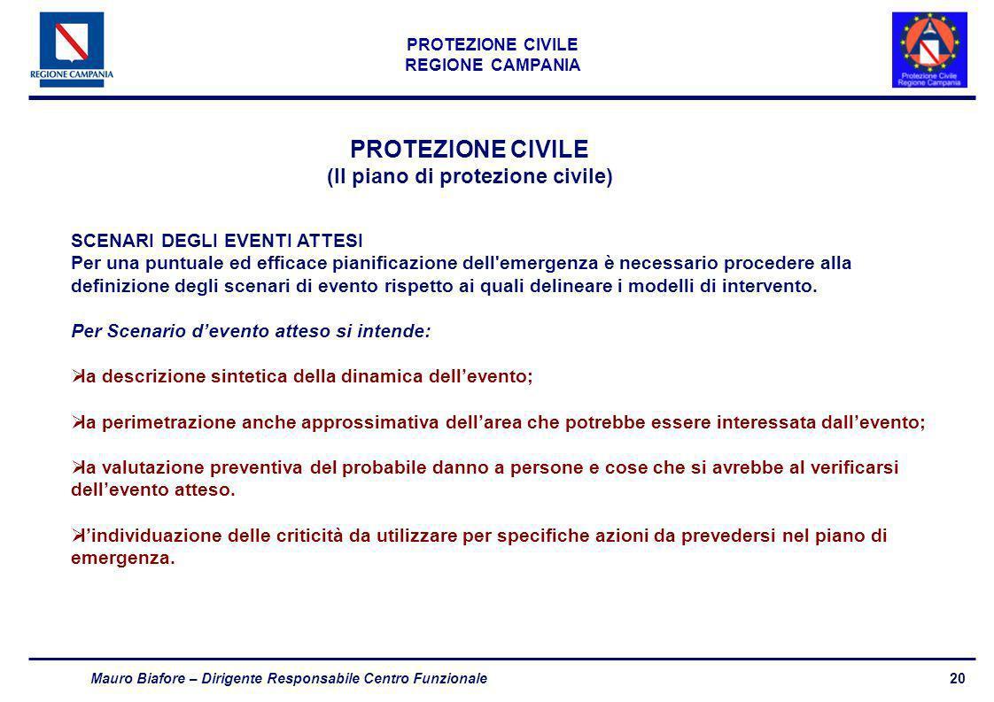 20 PROTEZIONE CIVILE REGIONE CAMPANIA Mauro Biafore – Dirigente Responsabile Centro Funzionale PROTEZIONE CIVILE (Il piano di protezione civile) SCENA
