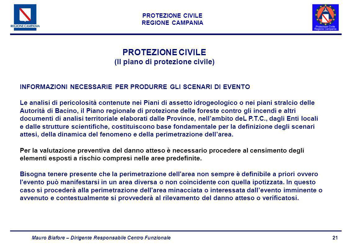 21 PROTEZIONE CIVILE REGIONE CAMPANIA Mauro Biafore – Dirigente Responsabile Centro Funzionale PROTEZIONE CIVILE (Il piano di protezione civile) INFOR