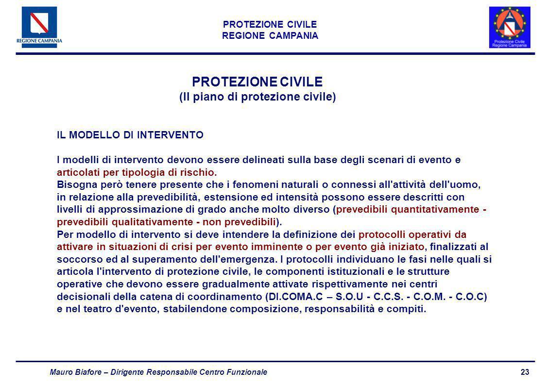 23 PROTEZIONE CIVILE REGIONE CAMPANIA Mauro Biafore – Dirigente Responsabile Centro Funzionale PROTEZIONE CIVILE (Il piano di protezione civile) IL MO