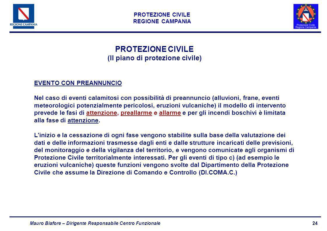 24 PROTEZIONE CIVILE REGIONE CAMPANIA Mauro Biafore – Dirigente Responsabile Centro Funzionale PROTEZIONE CIVILE (Il piano di protezione civile) EVENT
