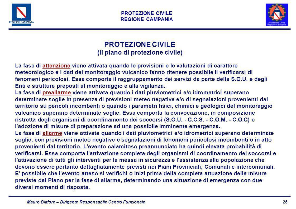 25 PROTEZIONE CIVILE REGIONE CAMPANIA Mauro Biafore – Dirigente Responsabile Centro Funzionale PROTEZIONE CIVILE (Il piano di protezione civile) La fa
