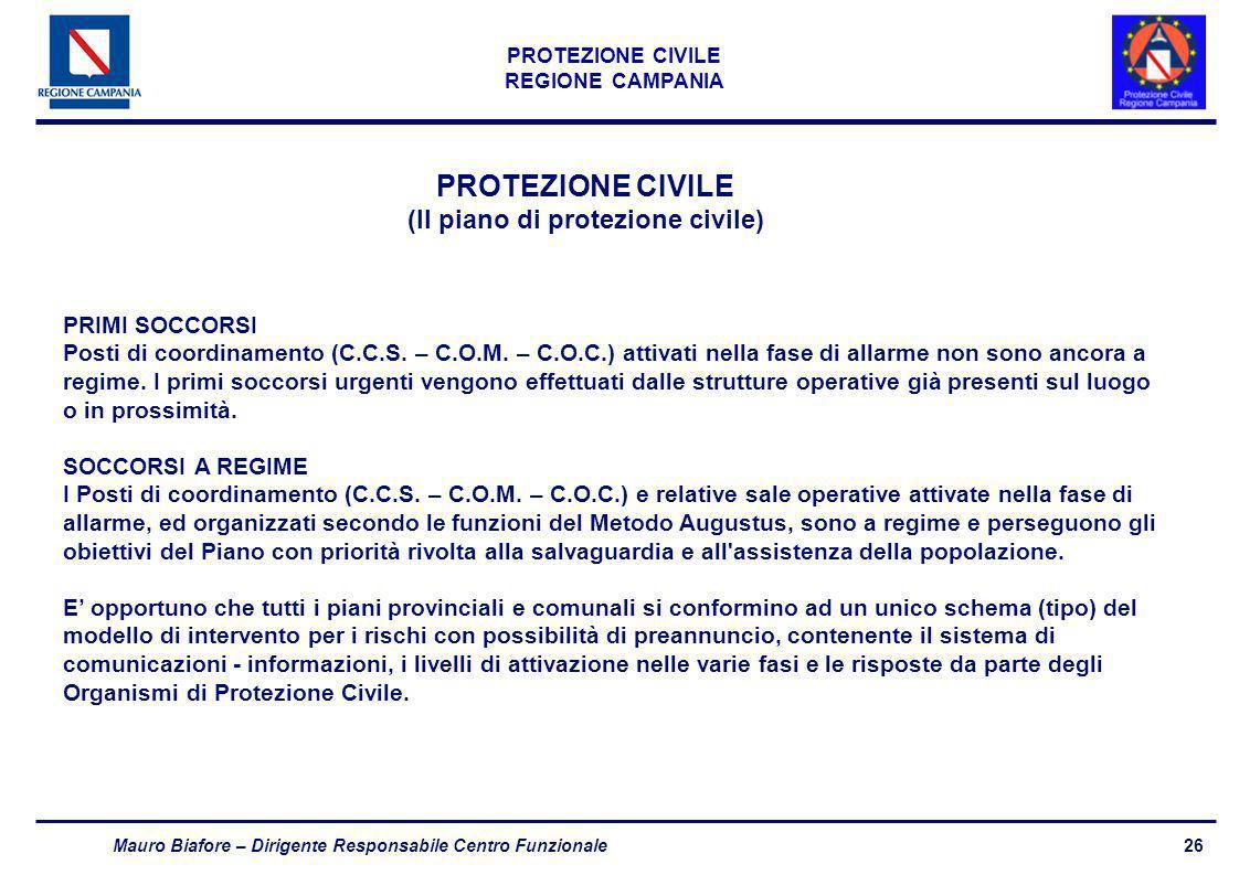 26 PROTEZIONE CIVILE REGIONE CAMPANIA Mauro Biafore – Dirigente Responsabile Centro Funzionale PROTEZIONE CIVILE (Il piano di protezione civile) PRIMI