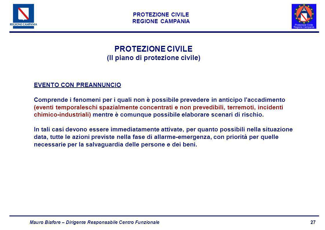 27 PROTEZIONE CIVILE REGIONE CAMPANIA Mauro Biafore – Dirigente Responsabile Centro Funzionale PROTEZIONE CIVILE (Il piano di protezione civile) EVENT