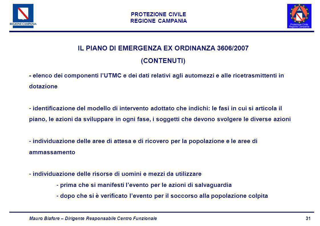 31 PROTEZIONE CIVILE REGIONE CAMPANIA Mauro Biafore – Dirigente Responsabile Centro Funzionale - elenco dei componenti lUTMC e dei dati relativi agli