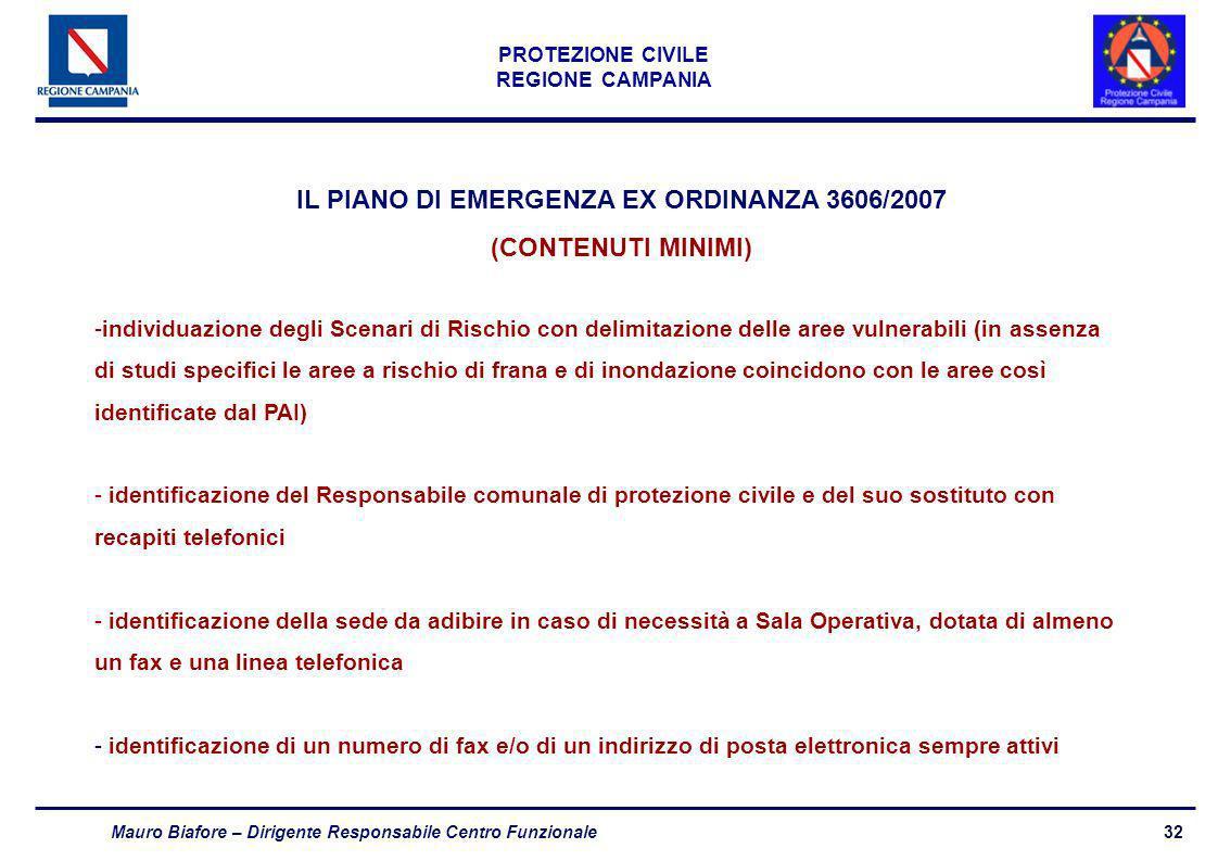 32 PROTEZIONE CIVILE REGIONE CAMPANIA Mauro Biafore – Dirigente Responsabile Centro Funzionale IL PIANO DI EMERGENZA EX ORDINANZA 3606/2007 (CONTENUTI