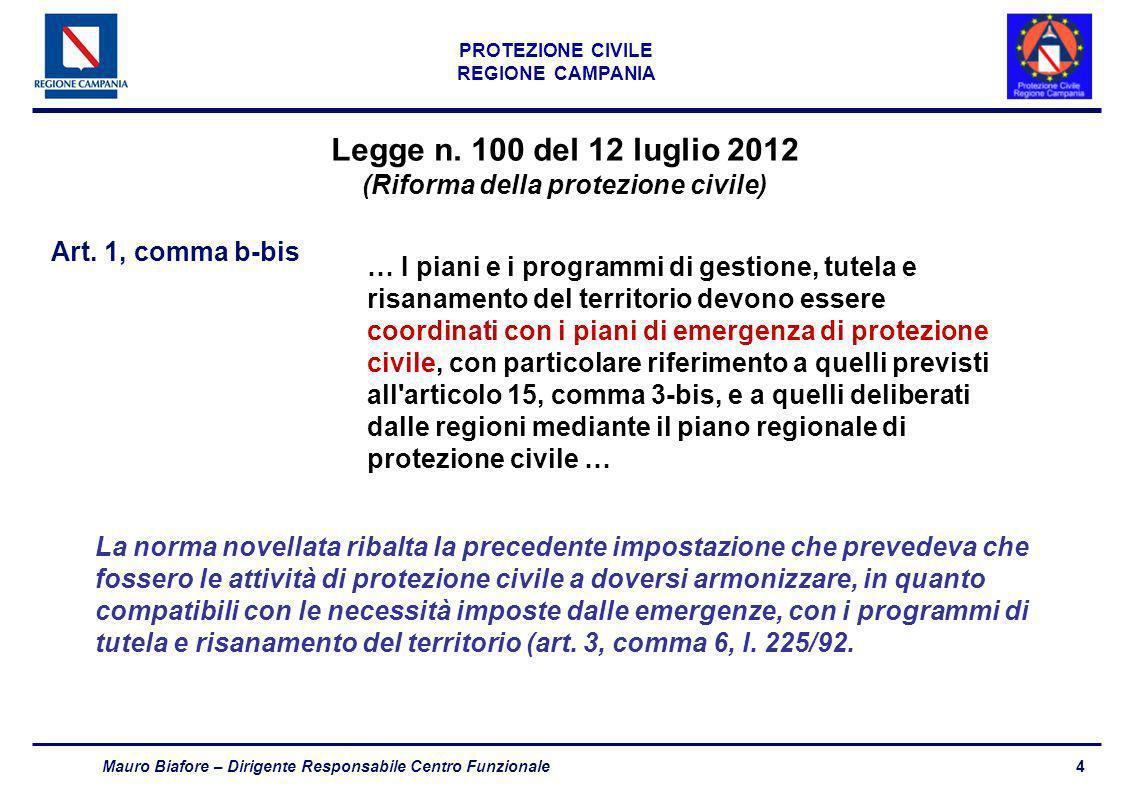 4 PROTEZIONE CIVILE REGIONE CAMPANIA Mauro Biafore – Dirigente Responsabile Centro Funzionale Legge n. 100 del 12 luglio 2012 (Riforma della protezion