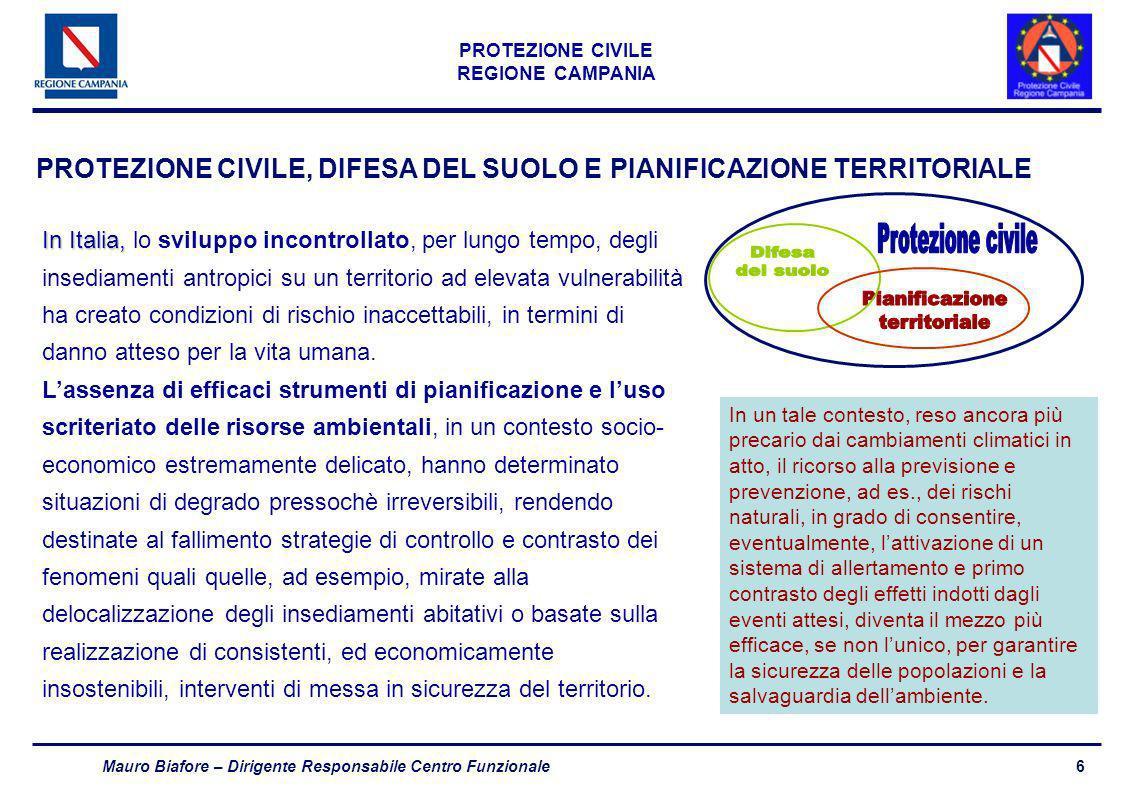 7 PROTEZIONE CIVILE REGIONE CAMPANIA Mauro Biafore – Dirigente Responsabile Centro Funzionale Difesa del Suolo e Protezione Civile Difesa del Suolotempo differito ATTIVITÀ, ANCHE STRAORDINARIE E TEMPORANEE, CHE CONCORRONO A GARANTIRE AZIONI URGENTI ED INDIFFERIBILI FINALIZZATE ALLA TUTELA DELLINTEGRITÀ DELLA VITA, DEI BENI, DEGLI INSEDIAMENTI E DELLAMBIENTE DAI DANNI DERIVANTI DA EVENTI PERICOLOSI ATTIVITÀ ORDINARIE DI PIANIFICAZIONE E DI PROGRAMMAZIONE DI INTERVENTI CHE GARANTISCANO CONDIZIONI PERMANENTI ED OMOGENEE PER LA PROMOZIONE, LA CONSERVAZIONE ED IL RECUPERO DI CONDIZIONI AMBIENTALI E TERRITORIALI CONFORMI AGLI INTERESSI DELLA COLLETTIVITÀ E ALLA QUALITÀ DELLA VITA Protezione Civiletempo reale AMBITI TEMPORALI DI INTERVENTO
