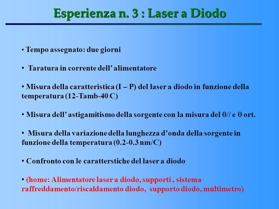 Esperienza n. 3 : Laser a Diodo Tempo assegnato: due giorni Taratura in corrente dell alimentatore Misura della caratteristica (I – P) del laser a dio