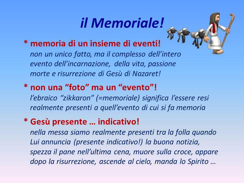 il Memoriale! * memoria di un insieme di eventi! non un unico fatto, ma il complesso dellintero evento dellincarnazione, della vita, passione morte e
