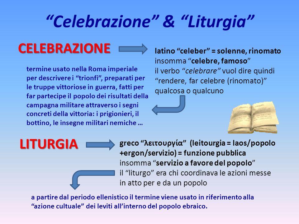 Celebrazione & Liturgia CELEBRAZIONE latino celeber = solenne, rinomato insomma celebre, famoso il verbo celebrare vuol dire quindi rendere, far celeb