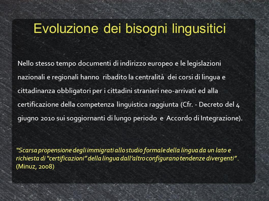 Evoluzione dei bisogni lingusitici Nello stesso tempo documenti di indirizzo europeo e le legislazioni nazionali e regionali hanno ribadito la central