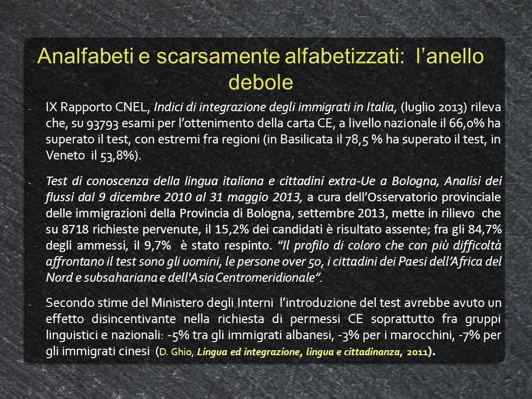 Analfabeti e scarsamente alfabetizzati: lanello debole -IX Rapporto CNEL, Indici di integrazione degli immigrati in Italia, (luglio 2013) rileva che,
