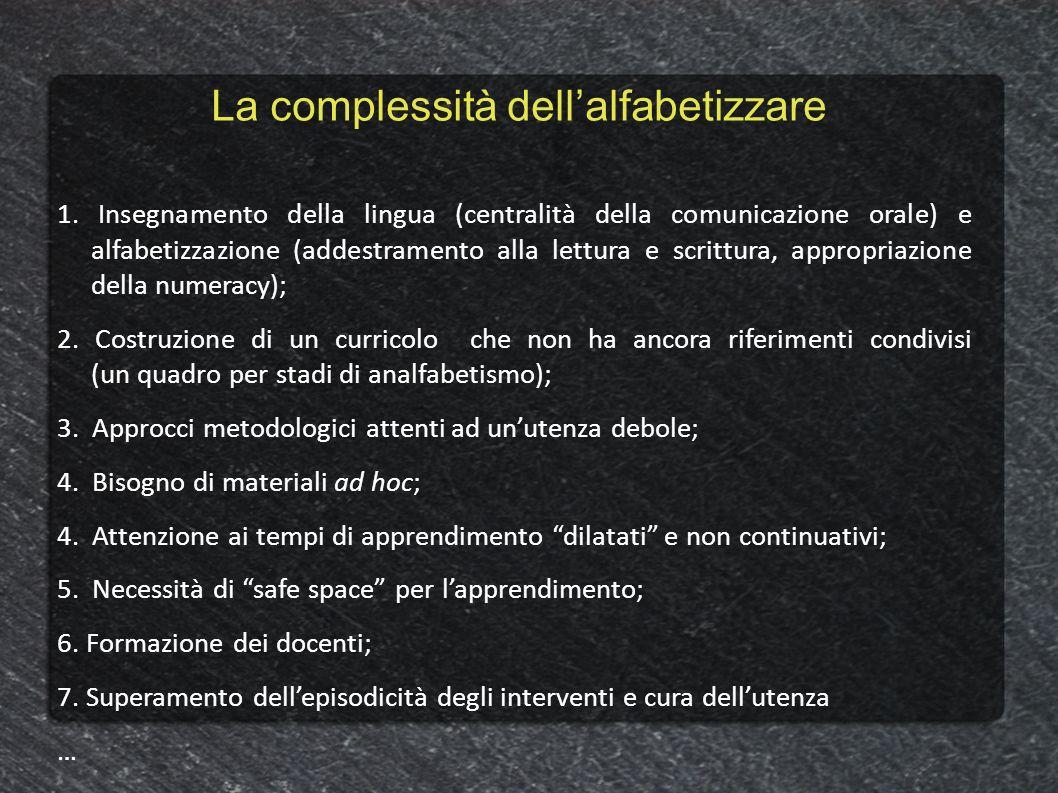 La complessità dellalfabetizzare 1. Insegnamento della lingua (centralità della comunicazione orale) e alfabetizzazione (addestramento alla lettura e