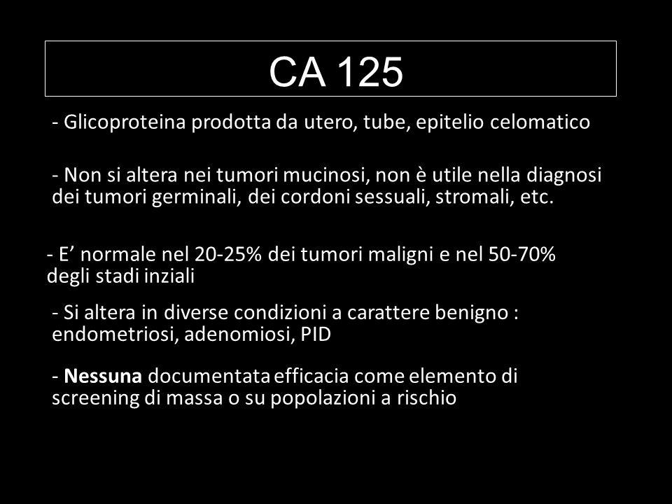 CA 125 - Nessuna documentata efficacia come elemento di screening di massa o su popolazioni a rischio - Glicoproteina prodotta da utero, tube, epiteli